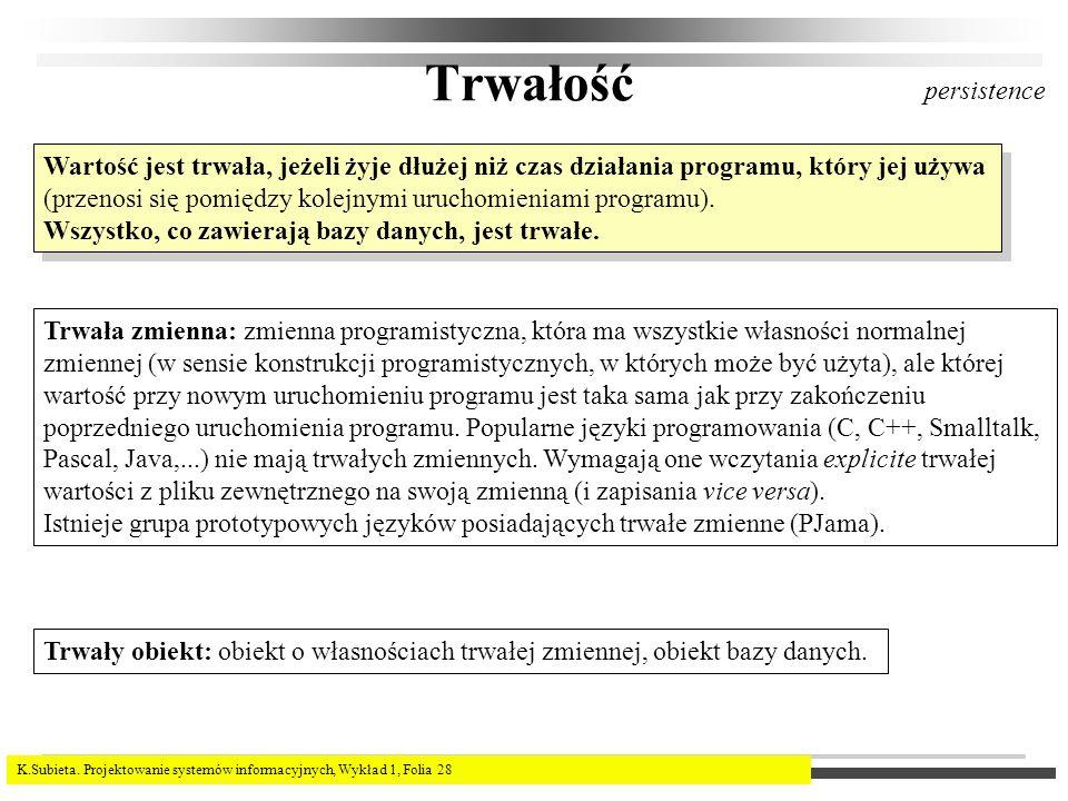 K.Subieta. Projektowanie systemów informacyjnych, Wykład 1, Folia 28 Trwałość Wartość jest trwała, jeżeli żyje dłużej niż czas działania programu, któ