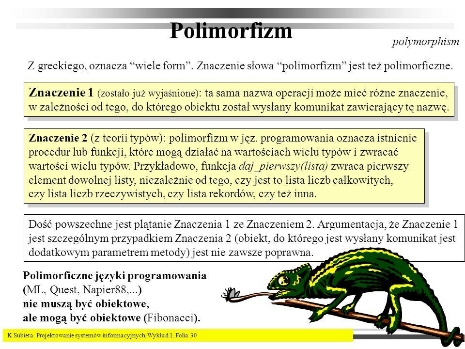 K.Subieta. Projektowanie systemów informacyjnych, Wykład 1, Folia 30 Polimorfizm Z greckiego, oznacza wiele form. Znaczenie słowa polimorfizm jest też