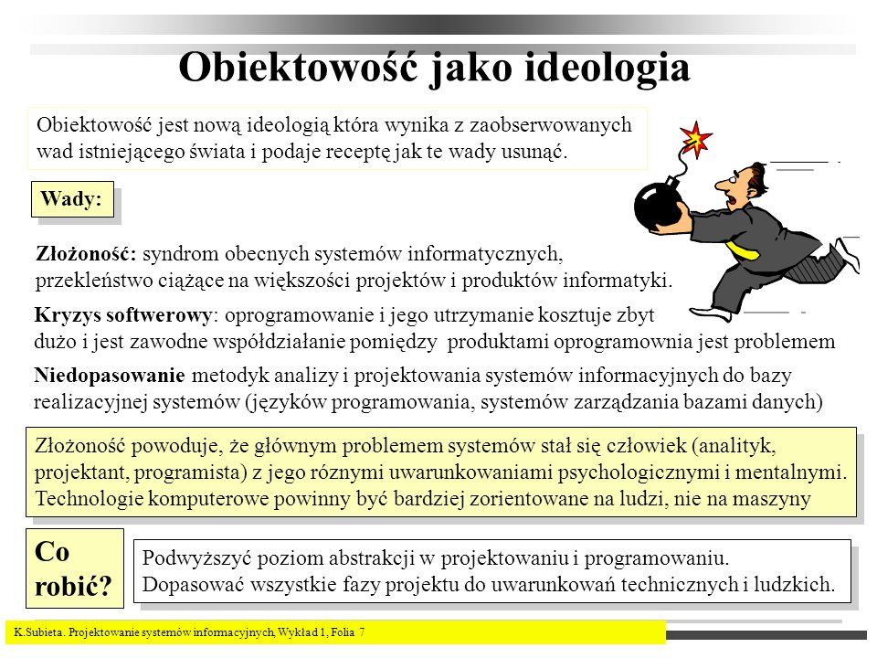 K.Subieta. Projektowanie systemów informacyjnych, Wykład 1, Folia 7 Obiektowość jako ideologia Obiektowość jest nową ideologią która wynika z zaobserw
