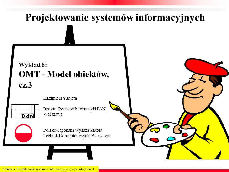 K.Subieta. Projektowanie systemów informacyjnych, Wykład 6, Folia 1 Projektowanie systemów informacyjnych Kazimierz Subieta Instytut Podstaw Informaty