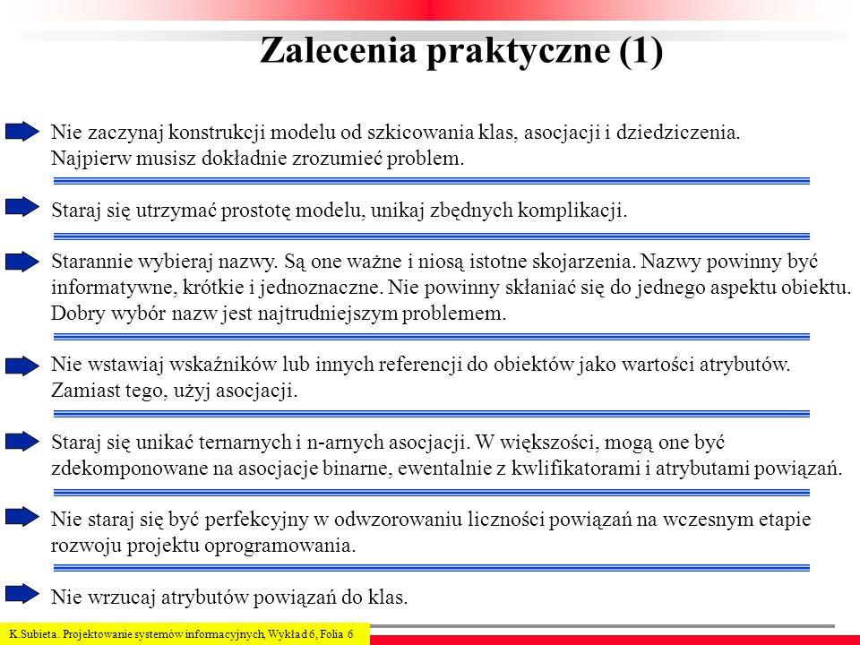 K.Subieta. Projektowanie systemów informacyjnych, Wykład 6, Folia 6 Zalecenia praktyczne (1) Nie zaczynaj konstrukcji modelu od szkicowania klas, asoc
