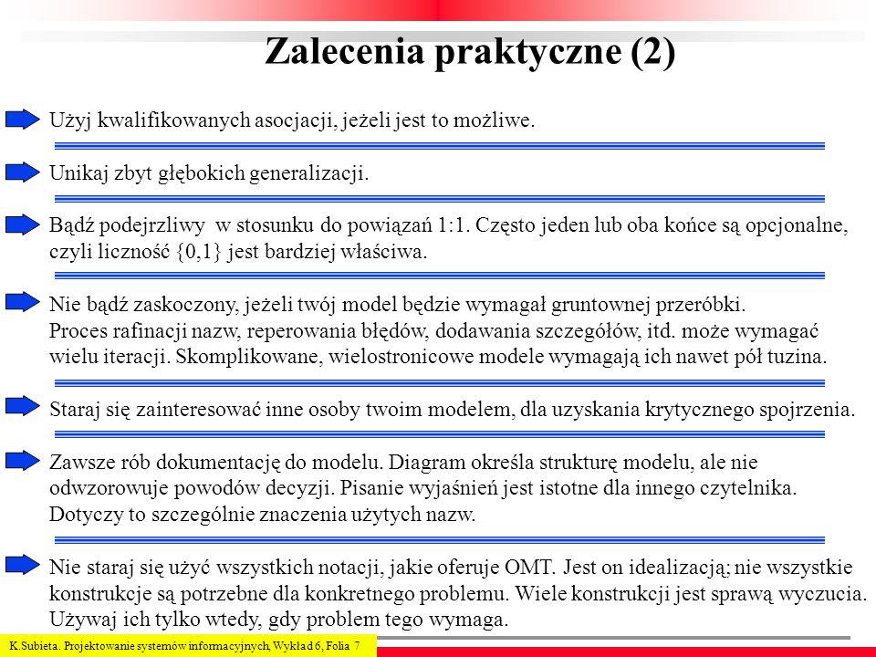 K.Subieta. Projektowanie systemów informacyjnych, Wykład 6, Folia 7 Zalecenia praktyczne (2) Użyj kwalifikowanych asocjacji, jeżeli jest to możliwe. U