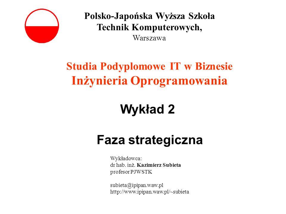 Studia Podyplomowe IT w Biznesie Inżynieria Oprogramowania Wykład 2 Faza strategiczna Polsko-Japońska Wyższa Szkoła Technik Komputerowych, Warszawa Wy