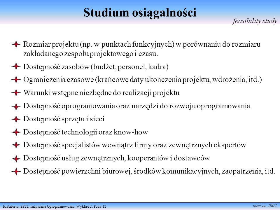 K.Subieta. SPIT, Inżynieria Oprogramowania, Wykład 2, Folia 12 marzec 2002 Studium osiągalności feasibility study Rozmiar projektu (np. w punktach fun