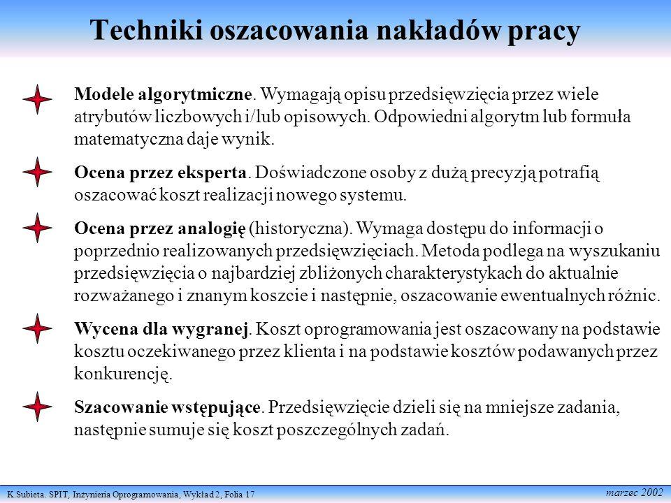 K.Subieta. SPIT, Inżynieria Oprogramowania, Wykład 2, Folia 17 marzec 2002 Techniki oszacowania nakładów pracy Modele algorytmiczne. Wymagają opisu pr