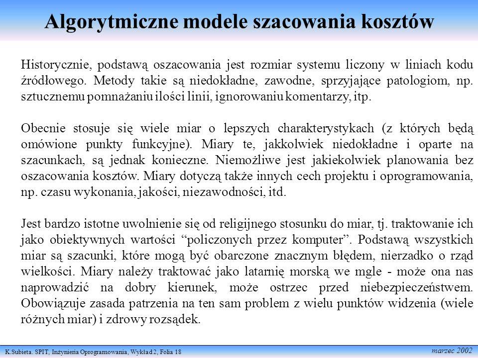 K.Subieta. SPIT, Inżynieria Oprogramowania, Wykład 2, Folia 18 marzec 2002 Algorytmiczne modele szacowania kosztów Historycznie, podstawą oszacowania