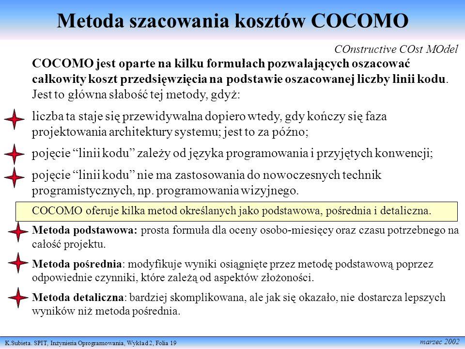 K.Subieta. SPIT, Inżynieria Oprogramowania, Wykład 2, Folia 19 marzec 2002 Metoda szacowania kosztów COCOMO COnstructive COst MOdel COCOMO jest oparte