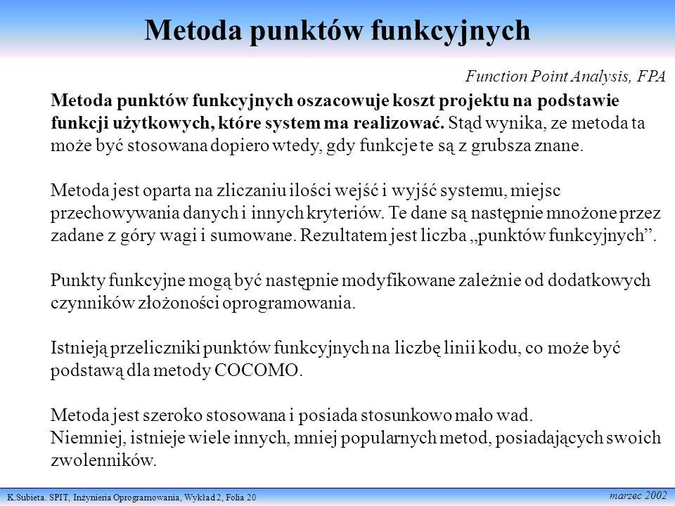 K.Subieta. SPIT, Inżynieria Oprogramowania, Wykład 2, Folia 20 marzec 2002 Metoda punktów funkcyjnych Function Point Analysis, FPA Metoda punktów funk