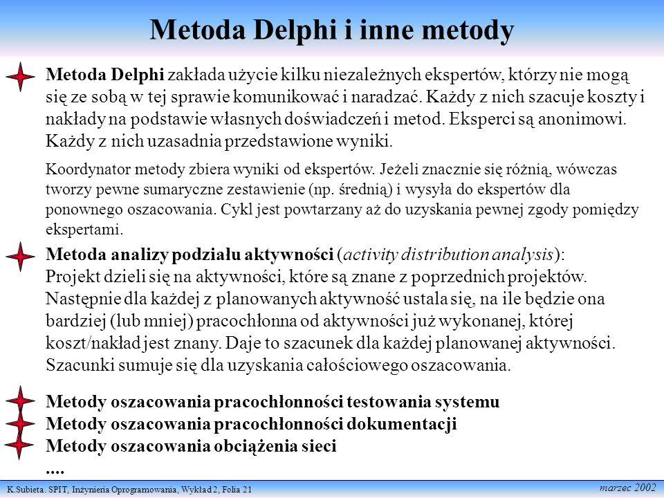 K.Subieta. SPIT, Inżynieria Oprogramowania, Wykład 2, Folia 21 marzec 2002 Metoda Delphi i inne metody Metoda Delphi zakłada użycie kilku niezależnych