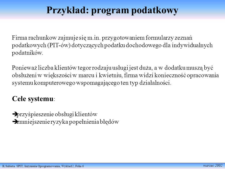 K.Subieta. SPIT, Inżynieria Oprogramowania, Wykład 2, Folia 6 marzec 2002 Przykład: program podatkowy Firma rachunkow zajmuje się m.in. przygotowaniem