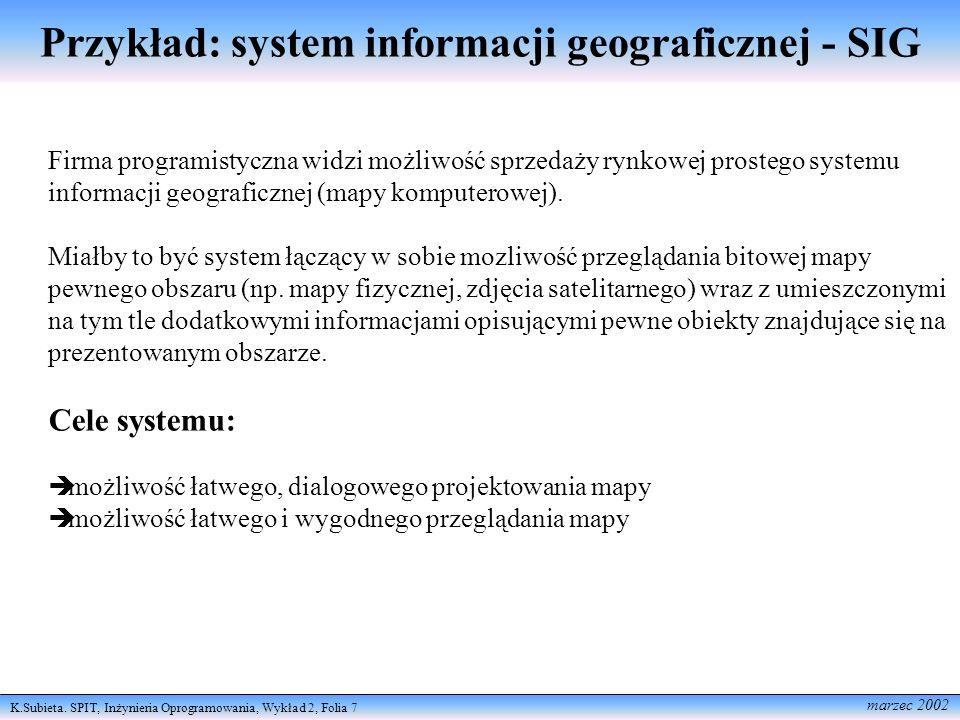 K.Subieta. SPIT, Inżynieria Oprogramowania, Wykład 2, Folia 7 marzec 2002 Przykład: system informacji geograficznej - SIG Firma programistyczna widzi