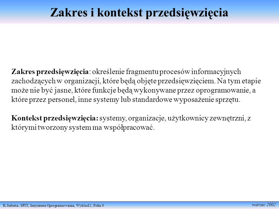 K.Subieta. SPIT, Inżynieria Oprogramowania, Wykład 2, Folia 9 marzec 2002 Zakres i kontekst przedsięwzięcia Zakres przedsięwzięcia: określenie fragmen