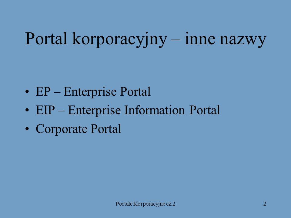 Portale Korporacyjne cz.23 Portale korporacyjne - plan Zarys poprzedniego referatu Portal korporacyjny, a Intranet Rynek Portali korporacyjnych Elementy uważane za najważniejsze w EIP Najpopularniejsze aplikacje w EP Porównanie wybranych portali Architektura portalu na przykładzie Sybase Enterprise Portals Portal korporacyjny z prawdziwego zdarzenia Podstawowe wymagania stawiane EIP