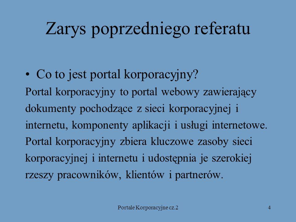 Portale Korporacyjne cz.24 Zarys poprzedniego referatu Co to jest portal korporacyjny.