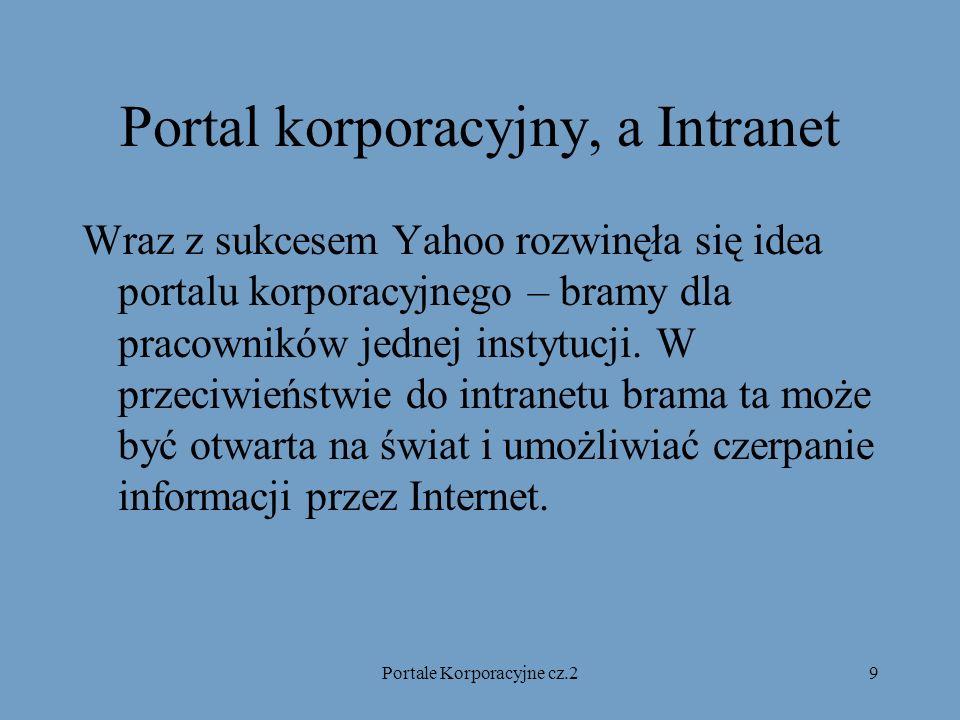 Portale Korporacyjne cz.29 Portal korporacyjny, a Intranet Wraz z sukcesem Yahoo rozwinęła się idea portalu korporacyjnego – bramy dla pracowników jednej instytucji.