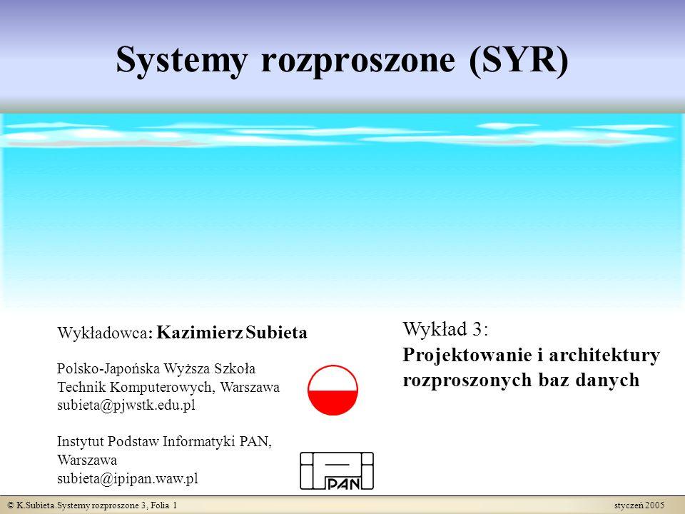 © K.Subieta.Systemy rozproszone 3, Folia 1 styczeń 2005 Systemy rozproszone (SYR) Wykładowca: Kazimierz Subieta Polsko-Japońska Wyższa Szkoła Technik