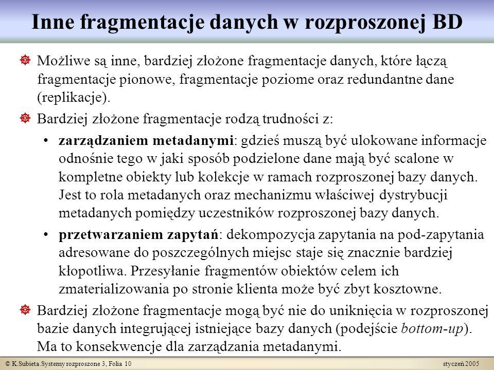 © K.Subieta.Systemy rozproszone 3, Folia 10 styczeń 2005 Inne fragmentacje danych w rozproszonej BD Możliwe są inne, bardziej złożone fragmentacje dan