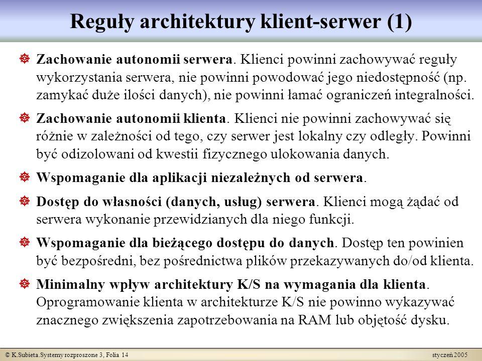 © K.Subieta.Systemy rozproszone 3, Folia 14 styczeń 2005 Reguły architektury klient-serwer (1) Zachowanie autonomii serwera. Klienci powinni zachowywa