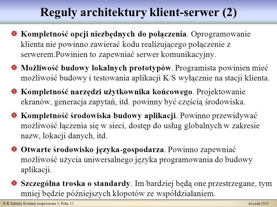 © K.Subieta.Systemy rozproszone 3, Folia 15 styczeń 2005 Reguły architektury klient-serwer (2) Kompletność opcji niezbędnych do połączenia. Oprogramow
