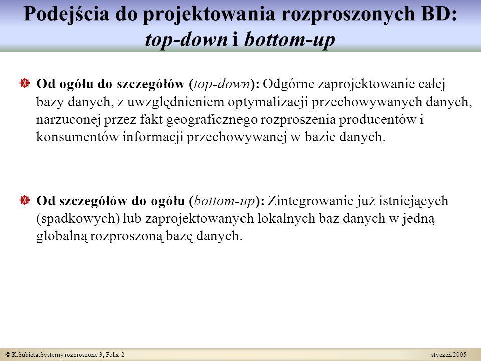 © K.Subieta.Systemy rozproszone 3, Folia 2 styczeń 2005 Podejścia do projektowania rozproszonych BD: top-down i bottom-up Od ogółu do szczegółów (top-