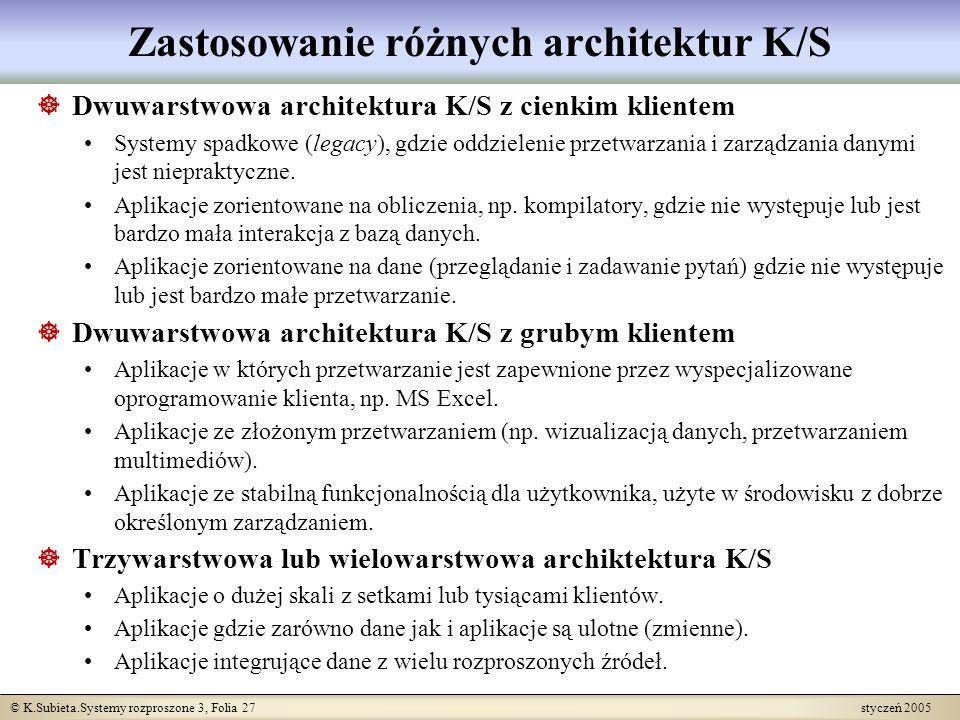 © K.Subieta.Systemy rozproszone 3, Folia 27 styczeń 2005 Zastosowanie różnych architektur K/S Dwuwarstwowa architektura K/S z cienkim klientem Systemy