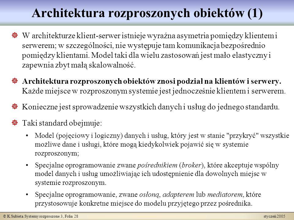 © K.Subieta.Systemy rozproszone 3, Folia 28 styczeń 2005 Architektura rozproszonych obiektów (1) W architekturze klient-serwer istnieje wyraźna asymet