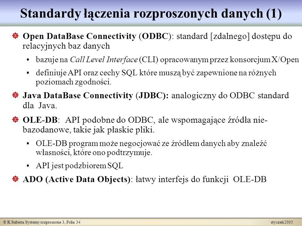 © K.Subieta.Systemy rozproszone 3, Folia 34 styczeń 2005 Standardy łączenia rozproszonych danych (1) Open DataBase Connectivity (ODBC): standard [zdal