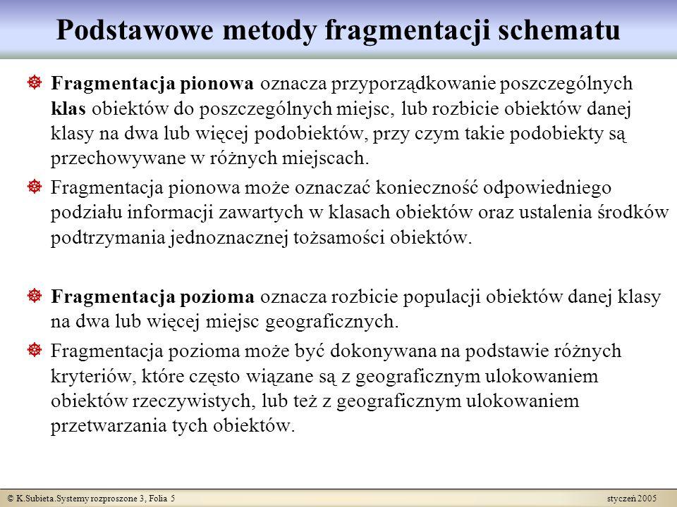 © K.Subieta.Systemy rozproszone 3, Folia 5 styczeń 2005 Podstawowe metody fragmentacji schematu Fragmentacja pionowa oznacza przyporządkowanie poszcze