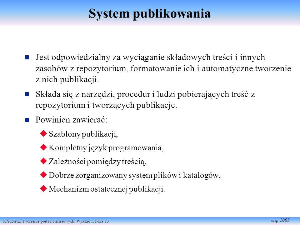 K.Subieta. Tworzenie portali biznesowych, Wykład 1, Folia 13 maj 2002 System publikowania Jest odpowiedzialny za wyciąganie składowych treści i innych