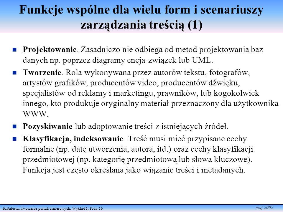 K.Subieta. Tworzenie portali biznesowych, Wykład 1, Folia 16 maj 2002 Funkcje wspólne dla wielu form i scenariuszy zarządzania treścią (1) Projektowan