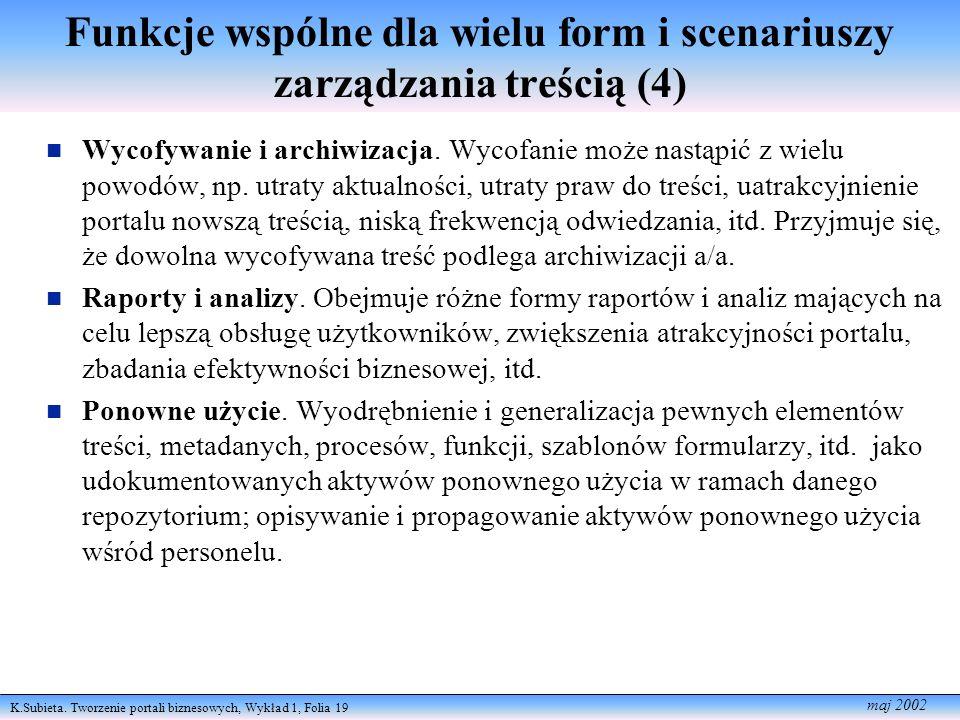 K.Subieta. Tworzenie portali biznesowych, Wykład 1, Folia 19 maj 2002 Funkcje wspólne dla wielu form i scenariuszy zarządzania treścią (4) Wycofywanie