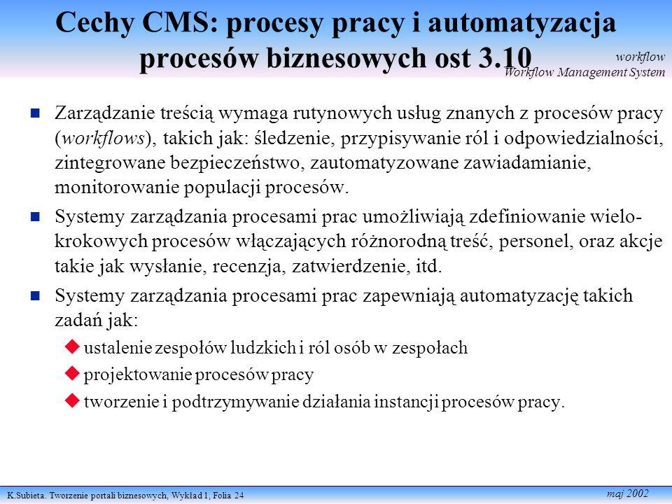 K.Subieta. Tworzenie portali biznesowych, Wykład 1, Folia 24 maj 2002 Cechy CMS: procesy pracy i automatyzacja procesów biznesowych ost 3.10 Zarządzan