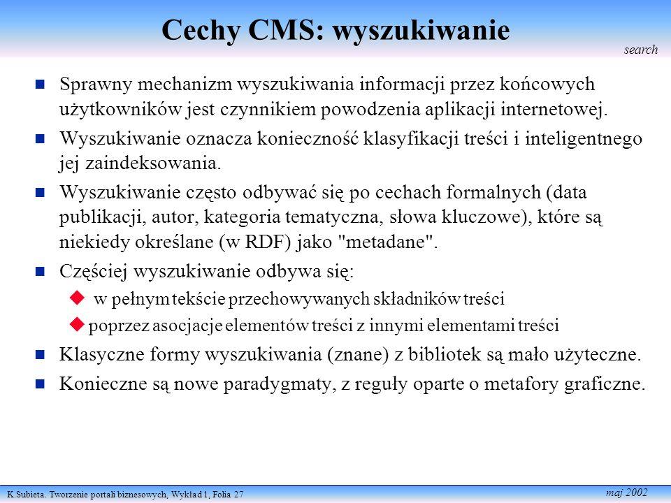 K.Subieta. Tworzenie portali biznesowych, Wykład 1, Folia 27 maj 2002 Cechy CMS: wyszukiwanie Sprawny mechanizm wyszukiwania informacji przez końcowyc