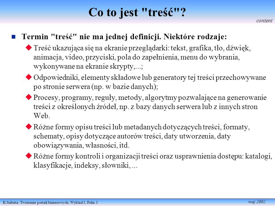 K.Subieta.Tworzenie portali biznesowych, Wykład 1, Folia 4 maj 2002 Treść vs.