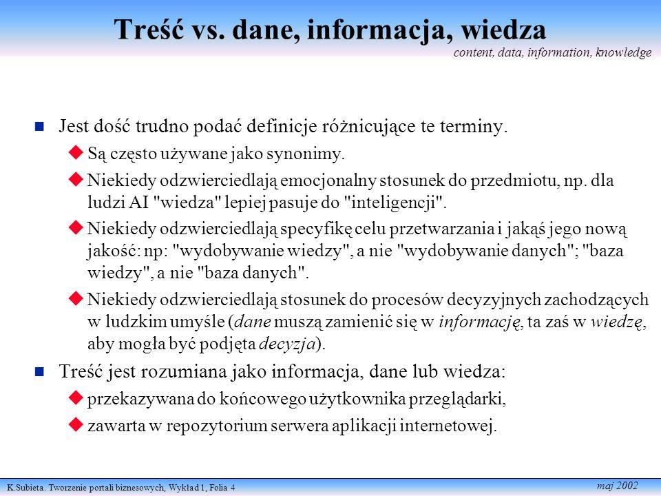 K.Subieta. Tworzenie portali biznesowych, Wykład 1, Folia 4 maj 2002 Treść vs. dane, informacja, wiedza Jest dość trudno podać definicje różnicujące t