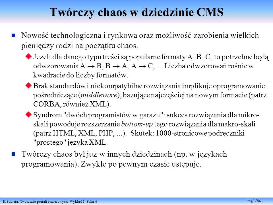 K.Subieta. Tworzenie portali biznesowych, Wykład 1, Folia 6 maj 2002 Twórczy chaos w dziedzinie CMS Nowość technologiczna i rynkowa oraz możliwość zar