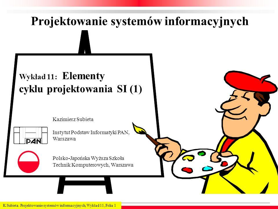 K.Subieta. Projektowanie systemów informacyjnych, Wykład 11, Folia 1 Projektowanie systemów informacyjnych Kazimierz Subieta Instytut Podstaw Informat