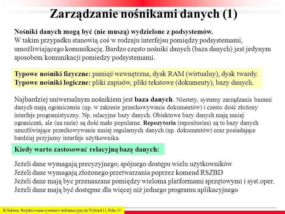 K.Subieta. Projektowanie systemów informacyjnych, Wykład 11, Folia 10 Zarządzanie nośnikami danych (1) Nośniki danych mogą być (nie muszą) wydzielone