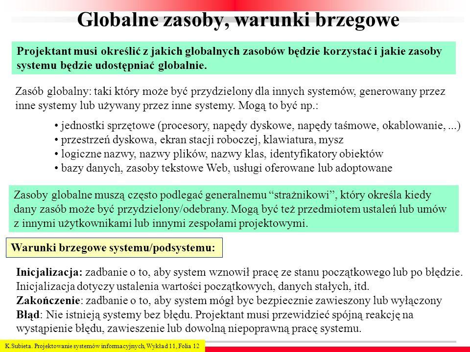 K.Subieta. Projektowanie systemów informacyjnych, Wykład 11, Folia 12 Globalne zasoby, warunki brzegowe Projektant musi określić z jakich globalnych z