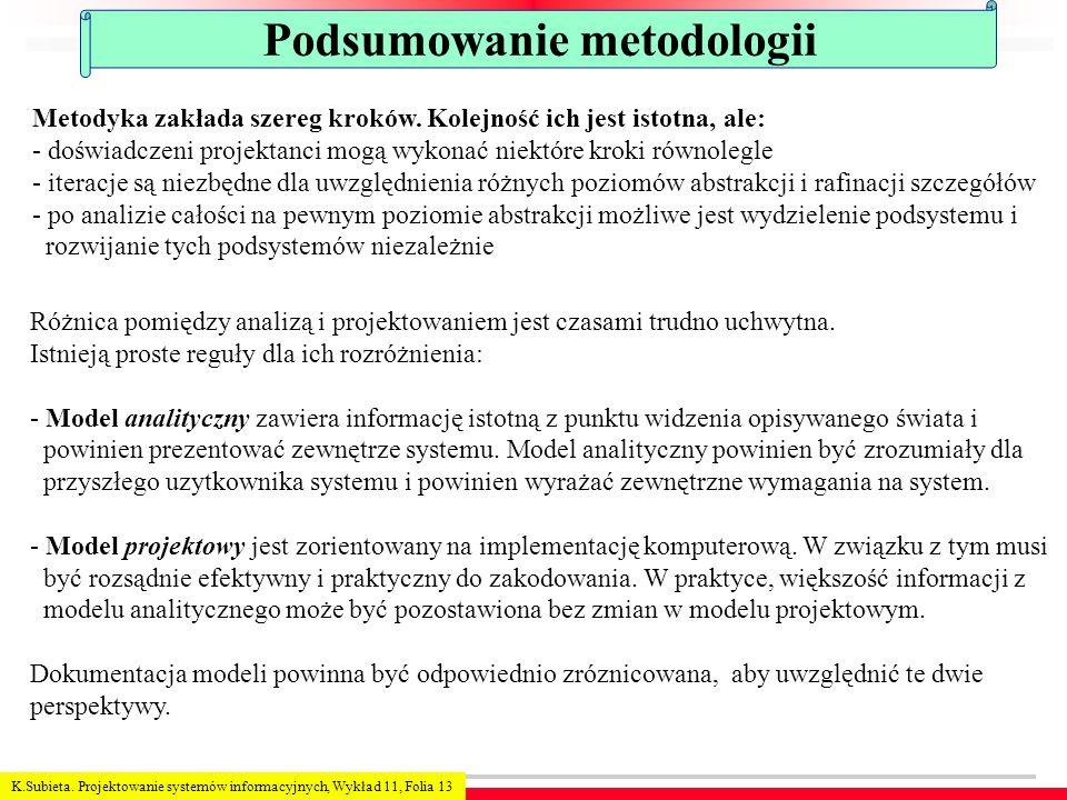 K.Subieta. Projektowanie systemów informacyjnych, Wykład 11, Folia 13 Podsumowanie metodologii Metodyka zakłada szereg kroków. Kolejność ich jest isto