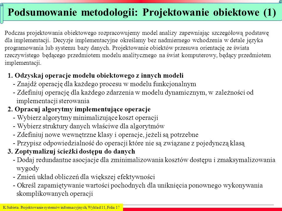 K.Subieta. Projektowanie systemów informacyjnych, Wykład 11, Folia 17 Podsumowanie metodologii: Projektowanie obiektowe (1) Podczas projektowania obie