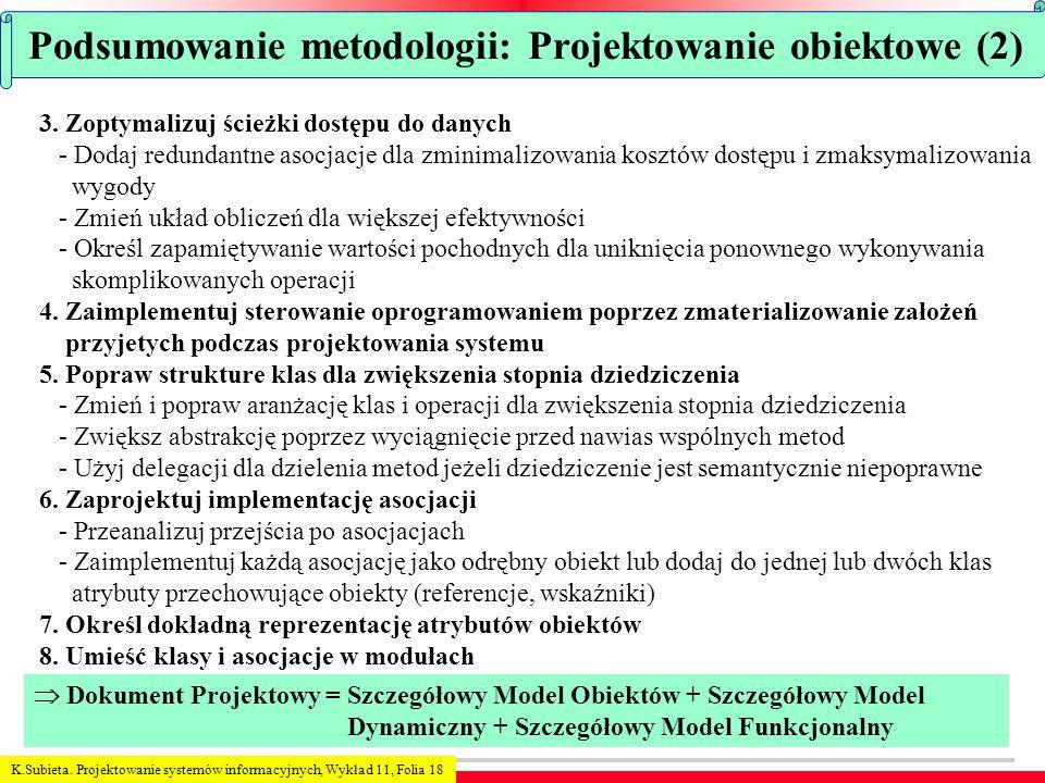 K.Subieta. Projektowanie systemów informacyjnych, Wykład 11, Folia 18 Podsumowanie metodologii: Projektowanie obiektowe (2) 3. Zoptymalizuj ścieżki do