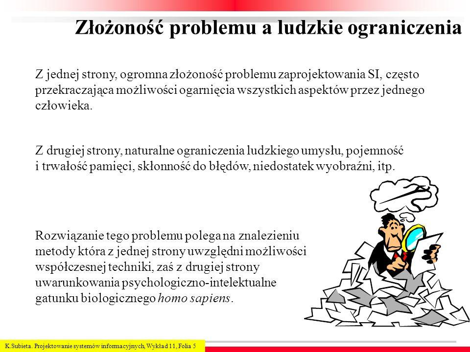 K.Subieta. Projektowanie systemów informacyjnych, Wykład 11, Folia 5 Złożoność problemu a ludzkie ograniczenia Z jednej strony, ogromna złożoność prob