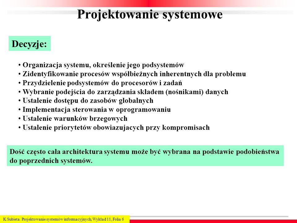 K.Subieta. Projektowanie systemów informacyjnych, Wykład 11, Folia 6 Projektowanie systemowe Decyzje: Organizacja systemu, określenie jego podsystemów