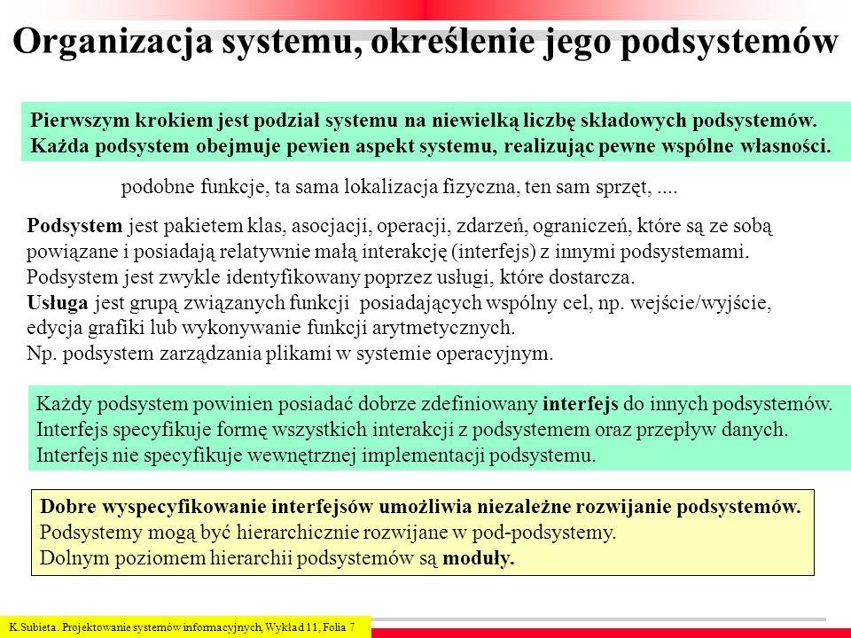 K.Subieta. Projektowanie systemów informacyjnych, Wykład 11, Folia 7 Organizacja systemu, określenie jego podsystemów Pierwszym krokiem jest podział s