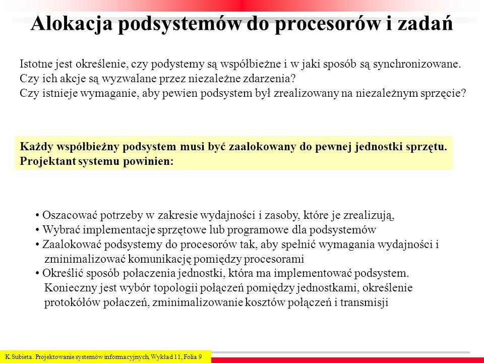 K.Subieta. Projektowanie systemów informacyjnych, Wykład 11, Folia 9 Alokacja podsystemów do procesorów i zadań Każdy współbieżny podsystem musi być z