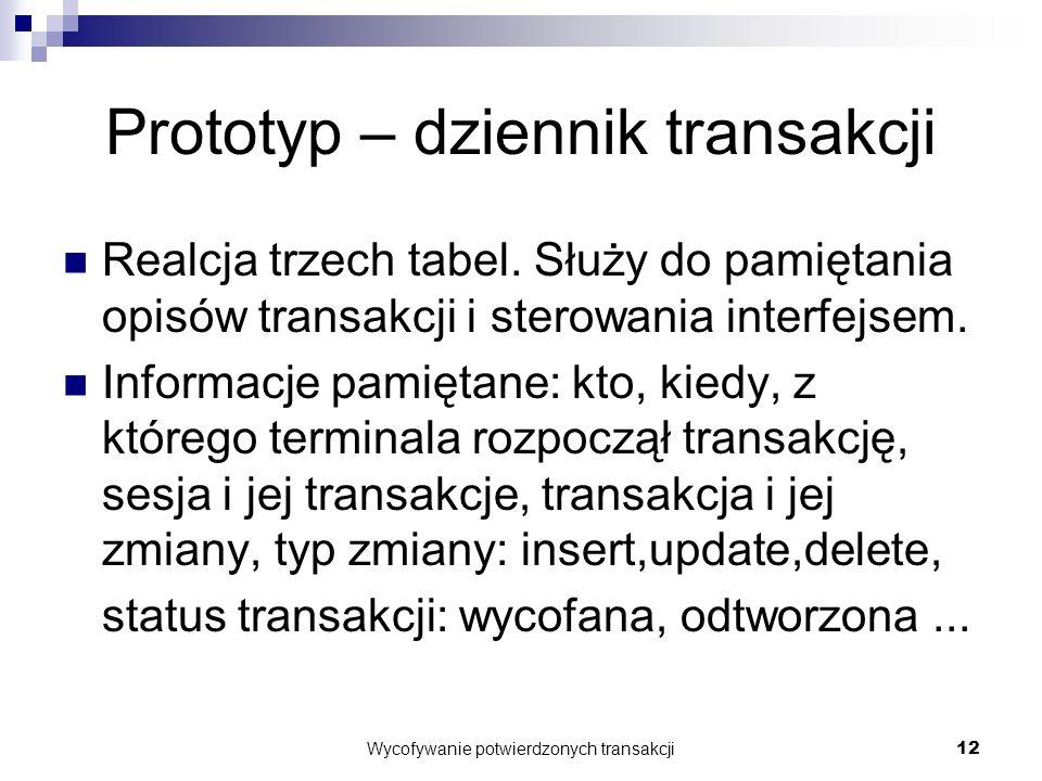 Wycofywanie potwierdzonych transakcji12 Prototyp – dziennik transakcji Realcja trzech tabel.