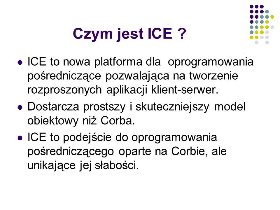 Czym jest ICE ? ICE to nowa platforma dla oprogramowania pośredniczące pozwalająca na tworzenie rozproszonych aplikacji klient-serwer. Dostarcza prost