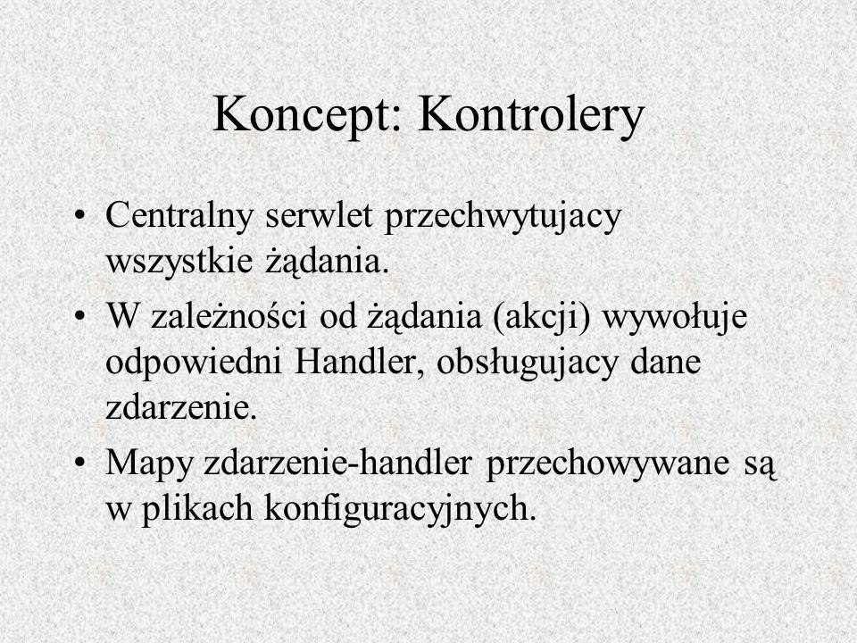Koncept: Kontrolery Centralny serwlet przechwytujacy wszystkie żądania. W zależności od żądania (akcji) wywołuje odpowiedni Handler, obsługujacy dane