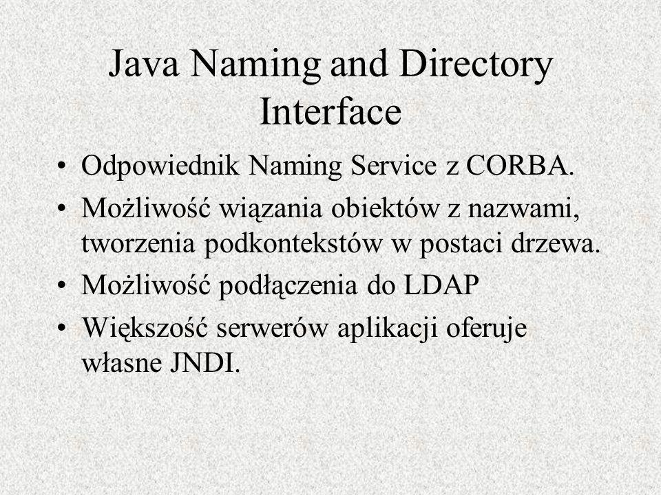 Java Naming and Directory Interface Odpowiednik Naming Service z CORBA. Możliwość wiązania obiektów z nazwami, tworzenia podkontekstów w postaci drzew